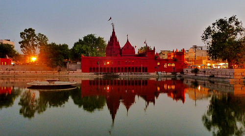 Evening view of the worshipped Durga temple