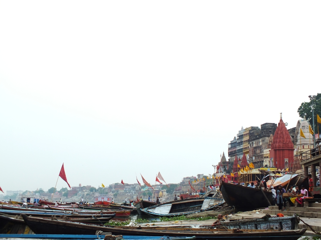 The ghats and the boats lined up