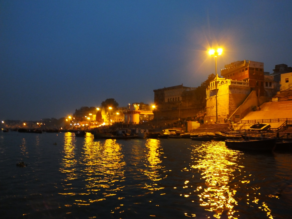 City lights and reflection on the Ganges