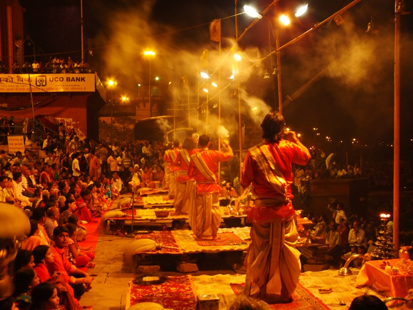 Evening rituals cladden with incense stick smokes and Hindu religuious chants